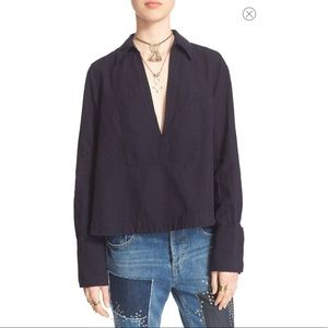 NWT Free Prople Ready Or Not Linen Blend Top